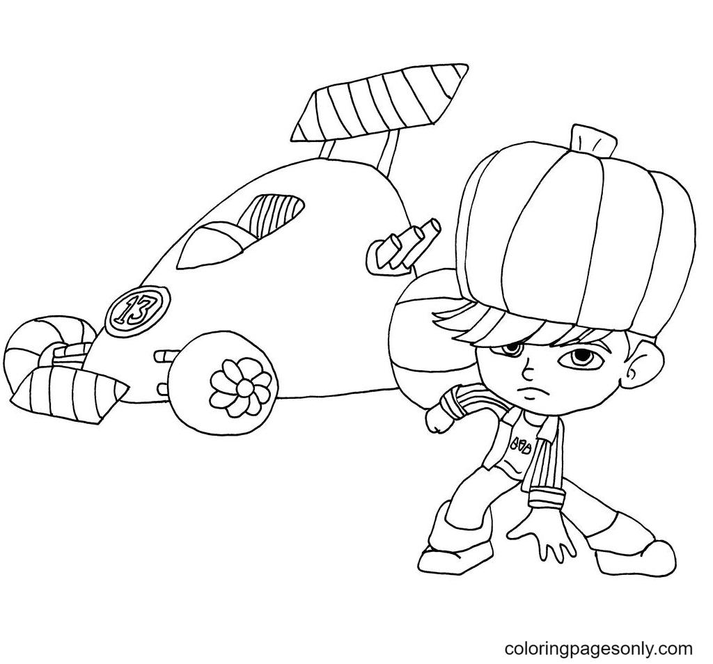 Gloyd Orangeboar and His Racing Car Coloring Page