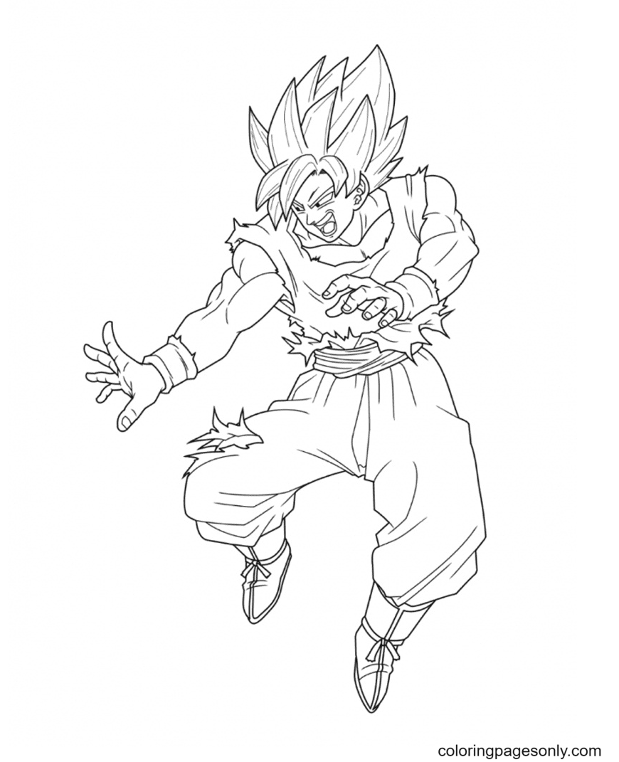 Goku Attack Coloring Page