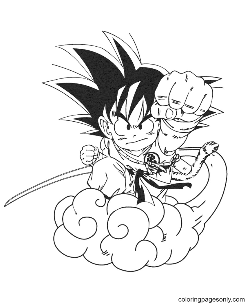 Goku On Cloud Coloring Page
