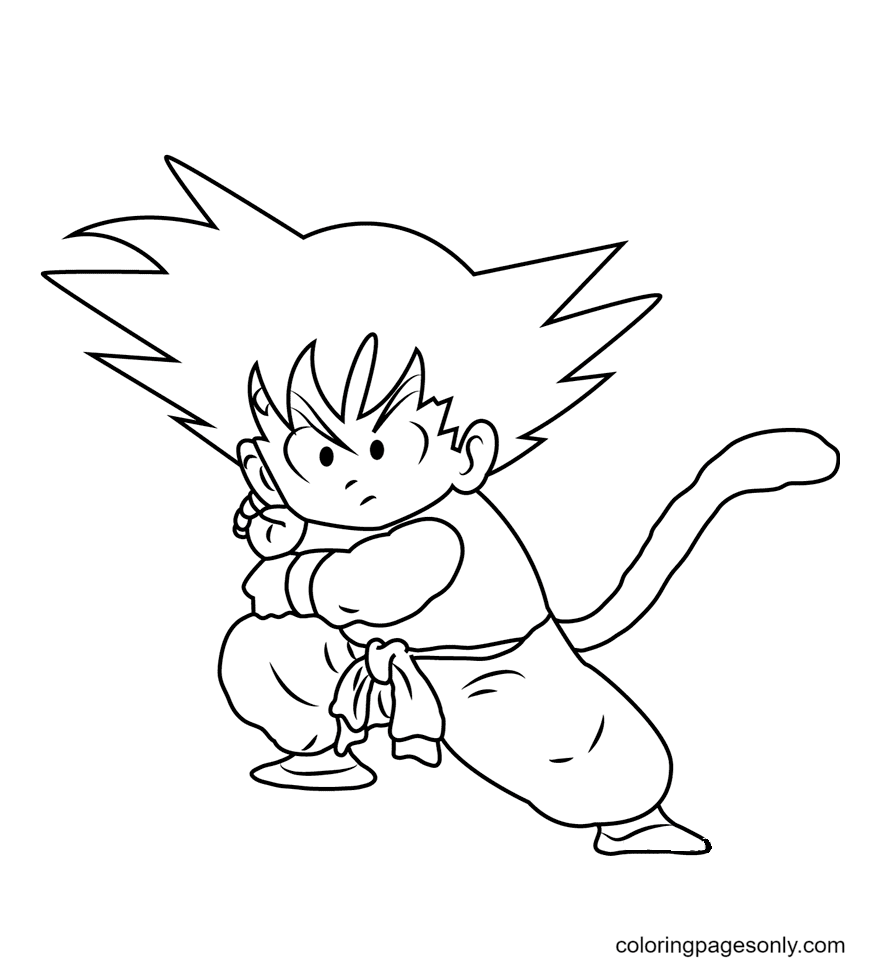Goku Ready to Fight Coloring Page