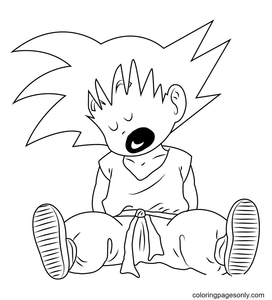Goku Sleeping Coloring Page