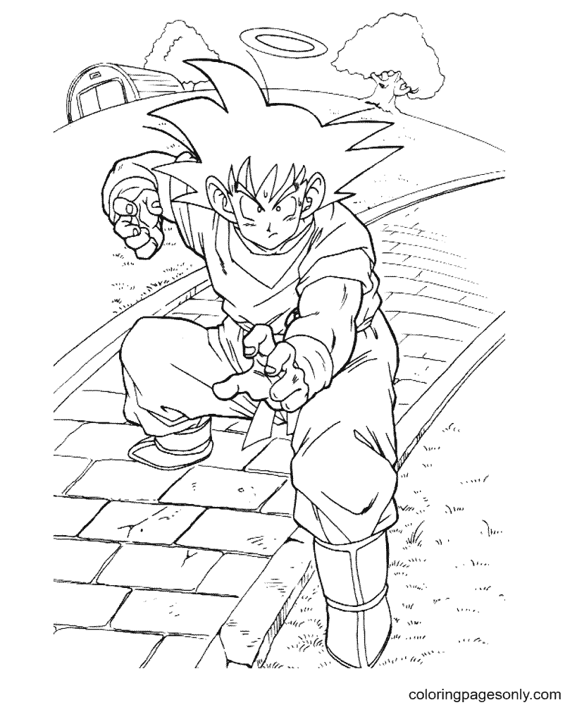 Goku practice hard practice Coloring Page