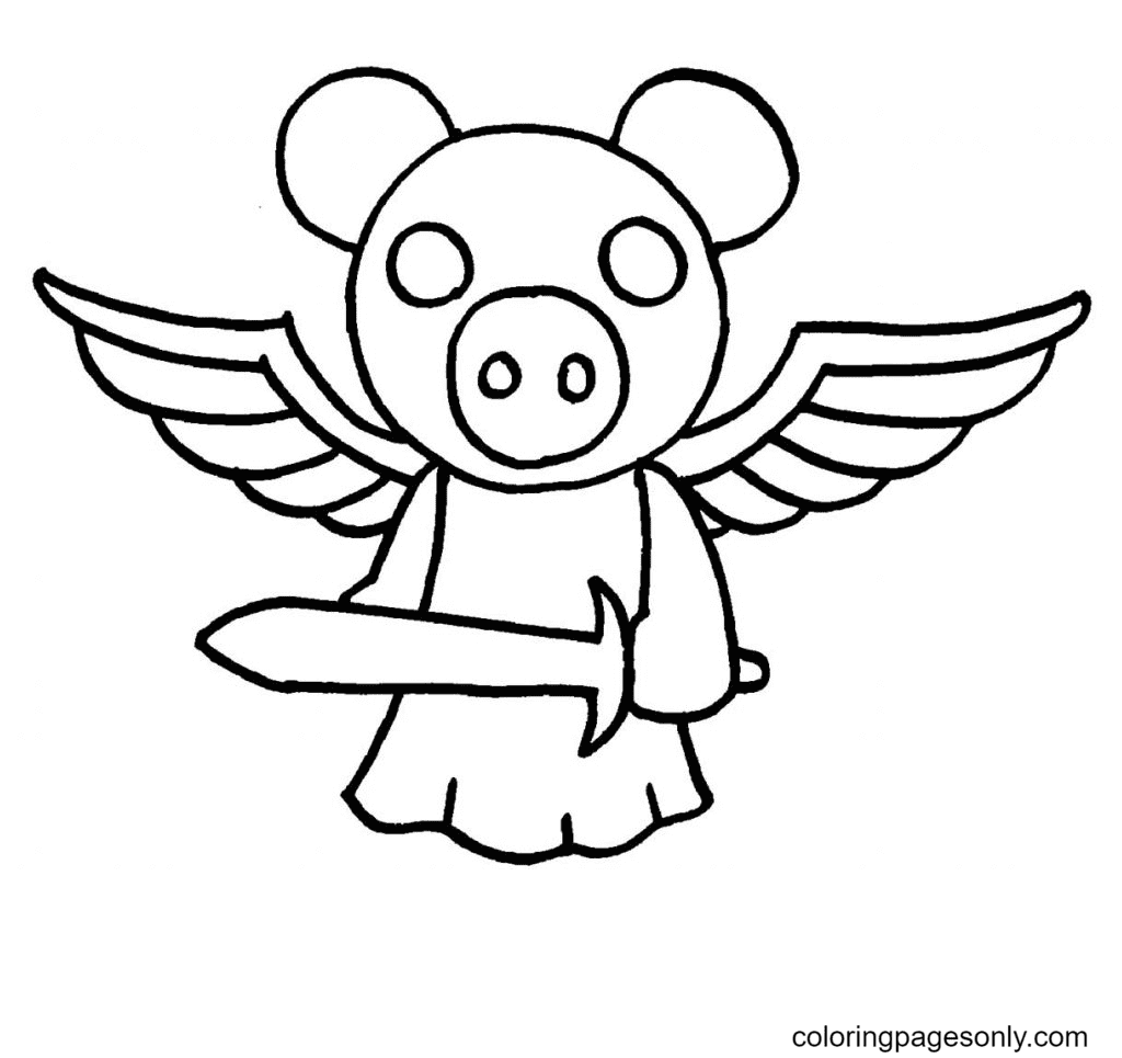 Golden Piggy Roblox Coloring Page
