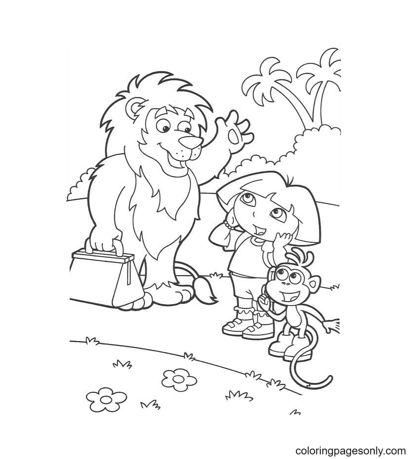 Good-bye Lion Coloring Page