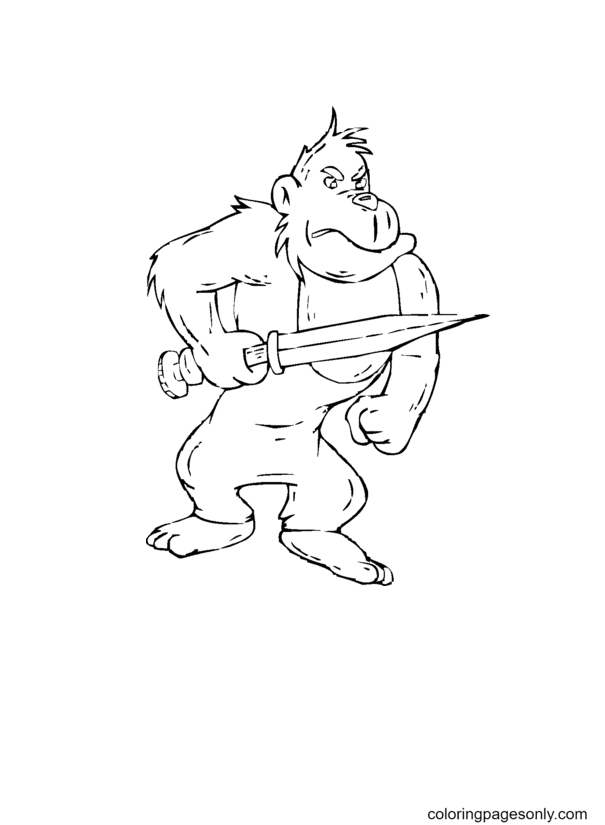 Gorilla Holds A Sword Coloring Page
