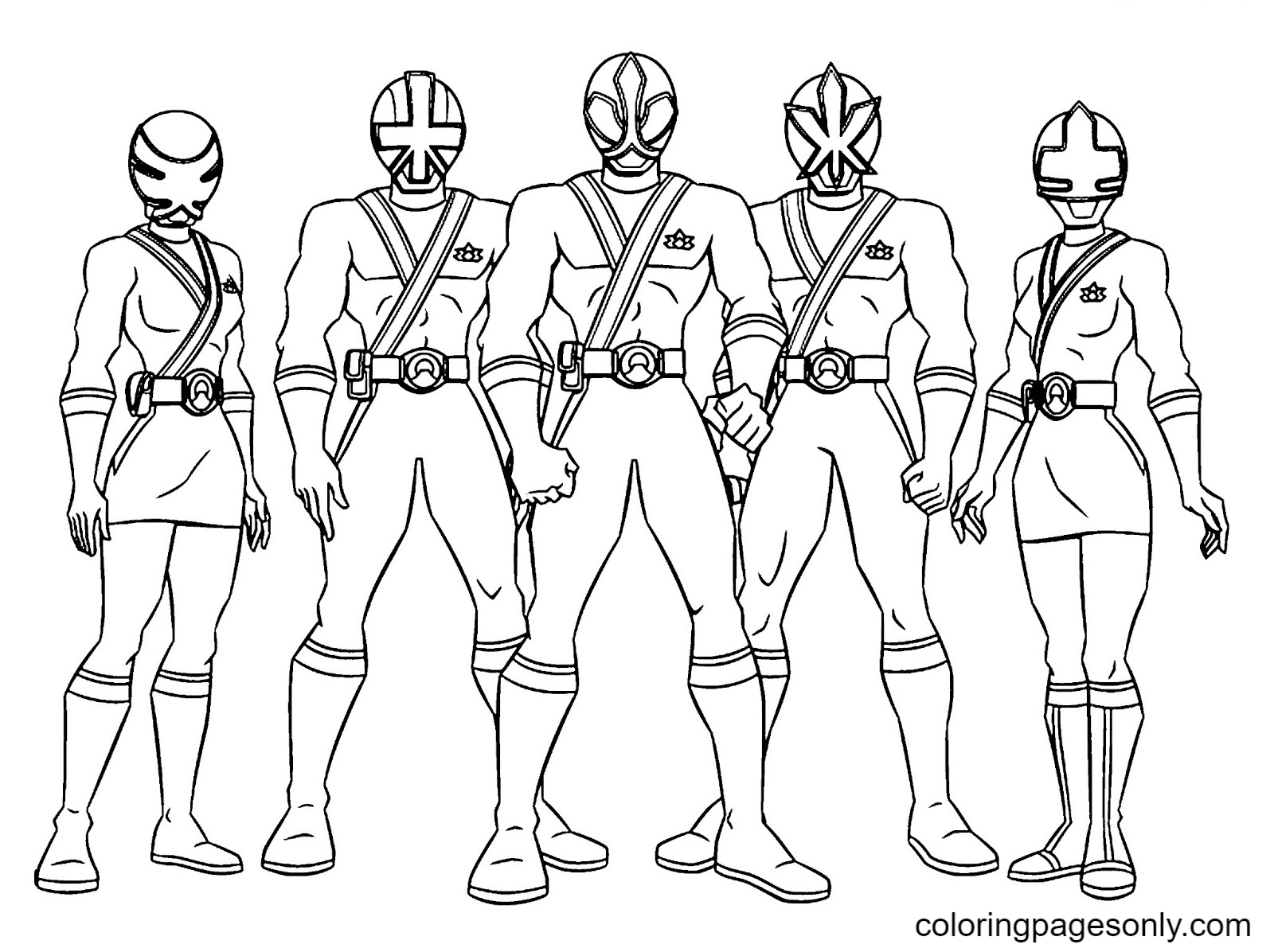 Group of Power Rangers Coloring Page