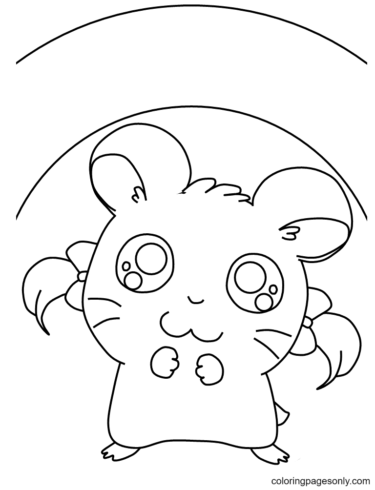 Hamster Girl Coloring Page
