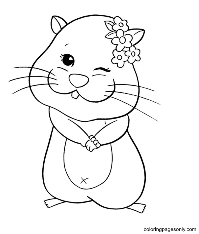 Hamster Winking Coloring Page