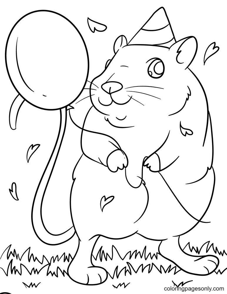 Hamster holding a balloon Coloring Page