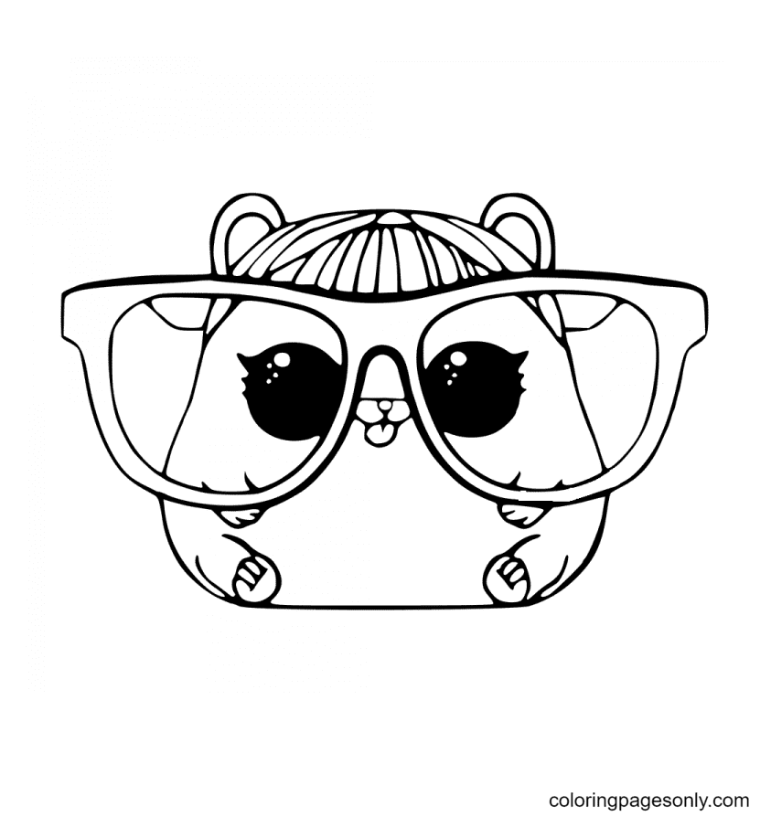 Hamster with Big Glasses Coloring Page