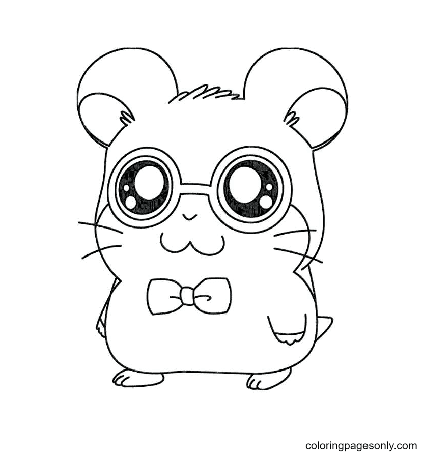 Hamster with Glasses Coloring Page
