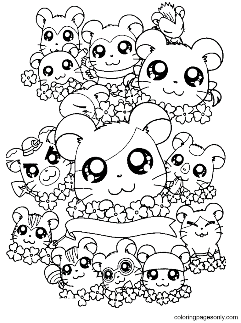 Hamsters around the flowers Coloring Page