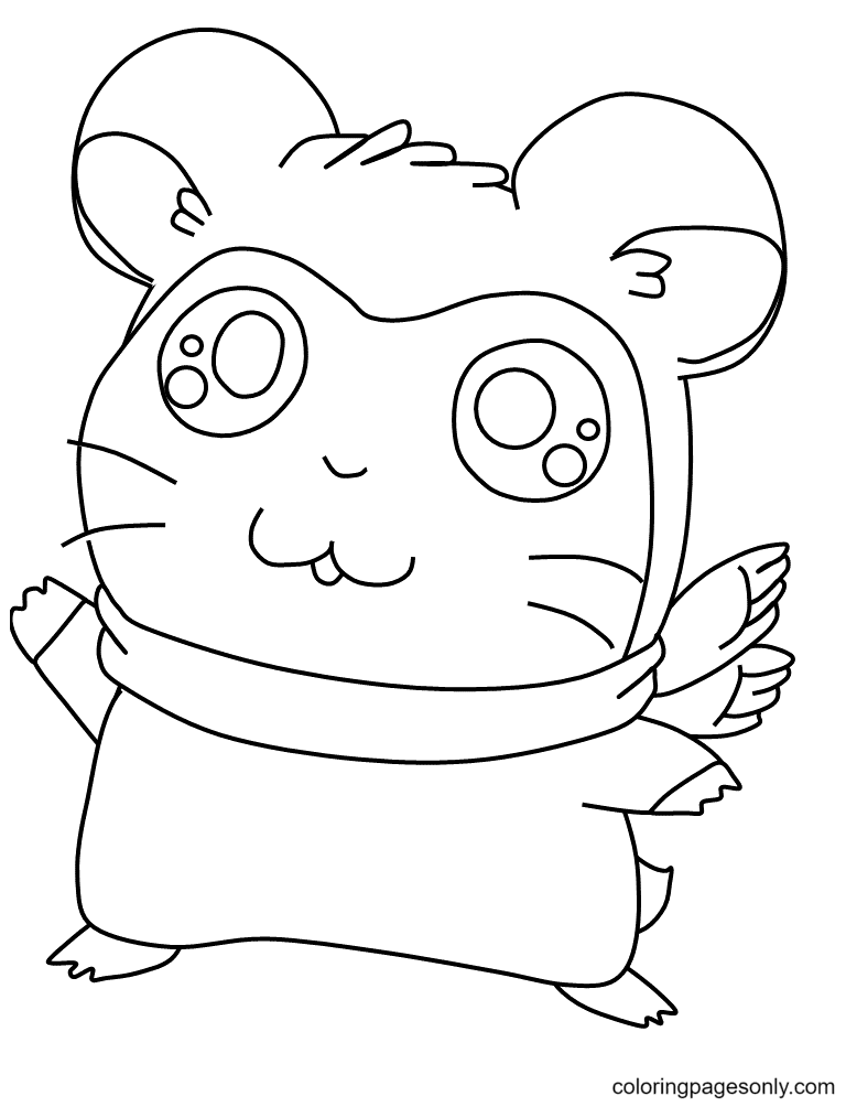 Hamsters wearing a scarf Coloring Page