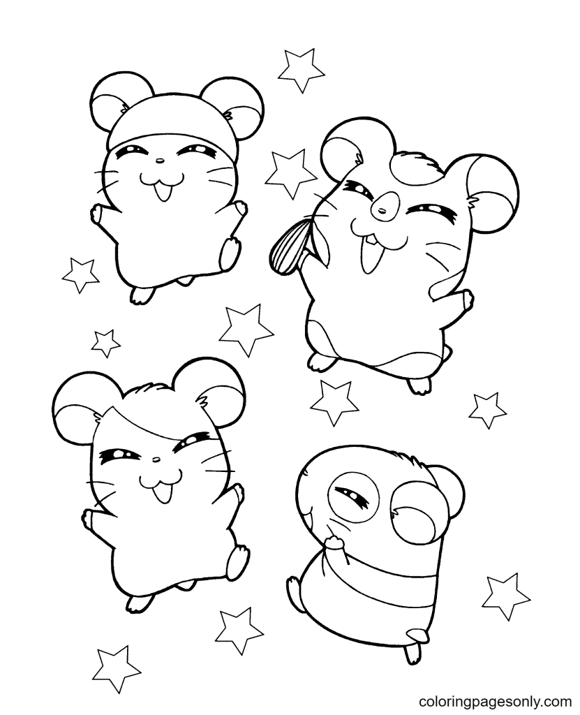 Hamsters with Stars Coloring Page