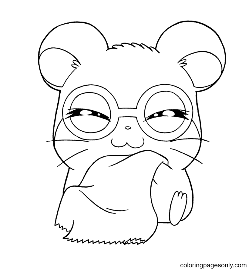 Happy Hamster Coloring Page