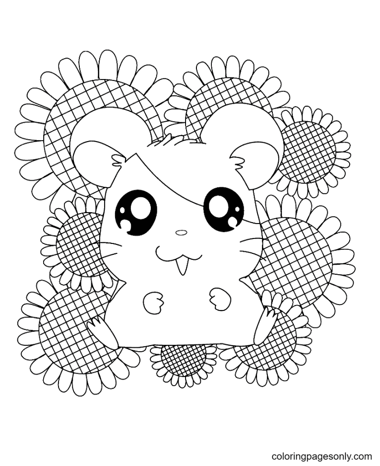 Happy Hamsters With Sun Flower Coloring Page
