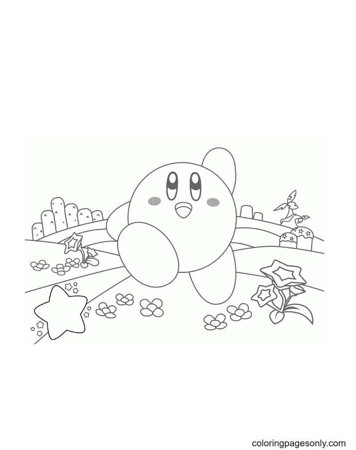 Happy Kirby Coloring Page