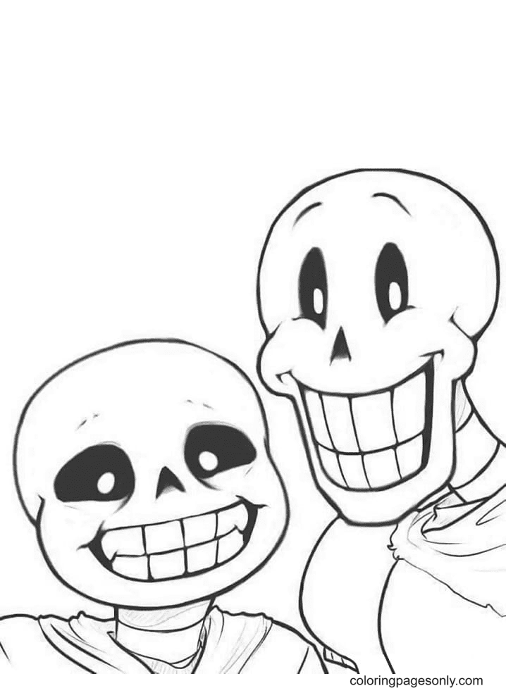 Happy Papyrus and Sans Coloring Page