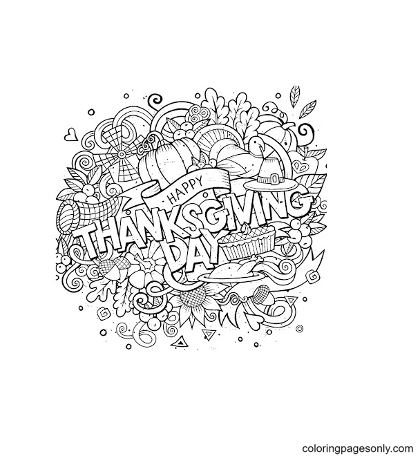 Happy Thanksgivinges Free Coloring Page