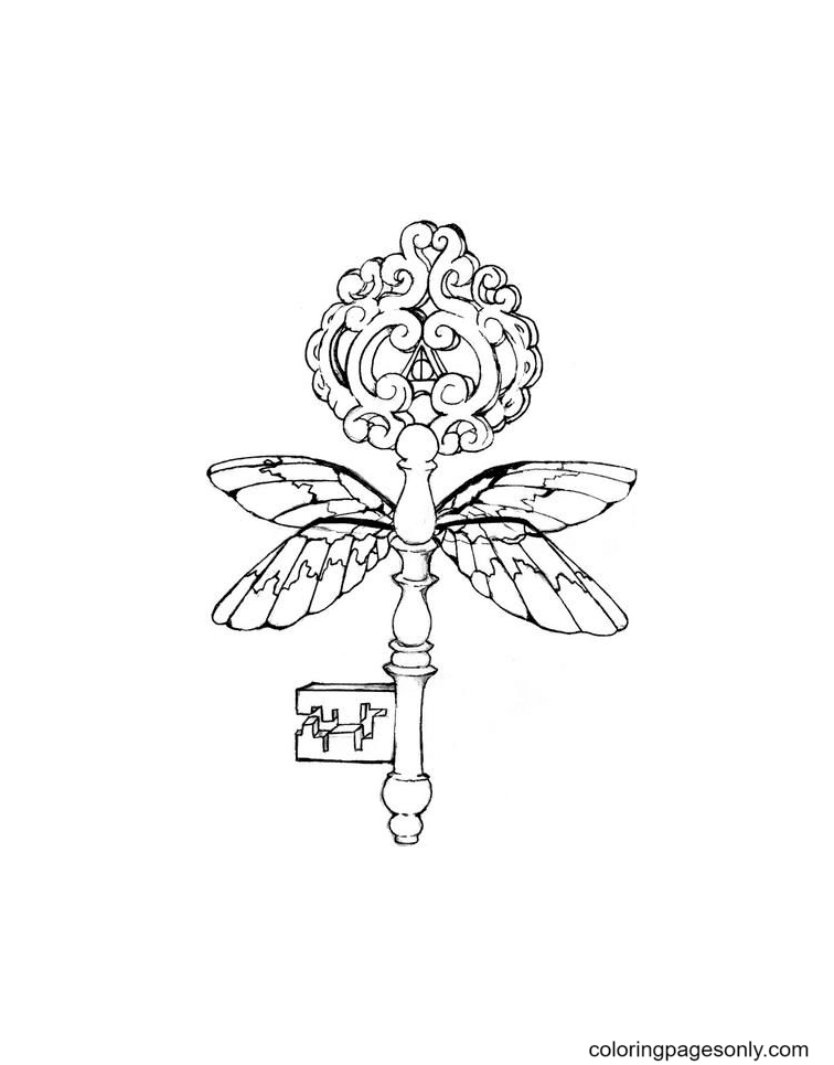 Harry Potter Inspired Key Coloring Page
