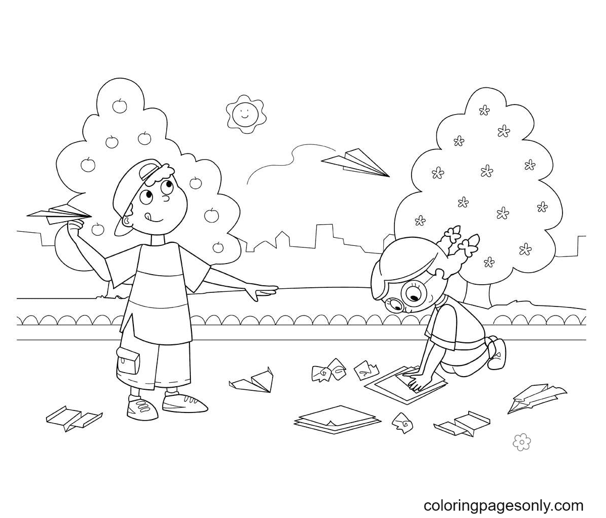 Have Fun in The Beautiful Sunshine Coloring Page