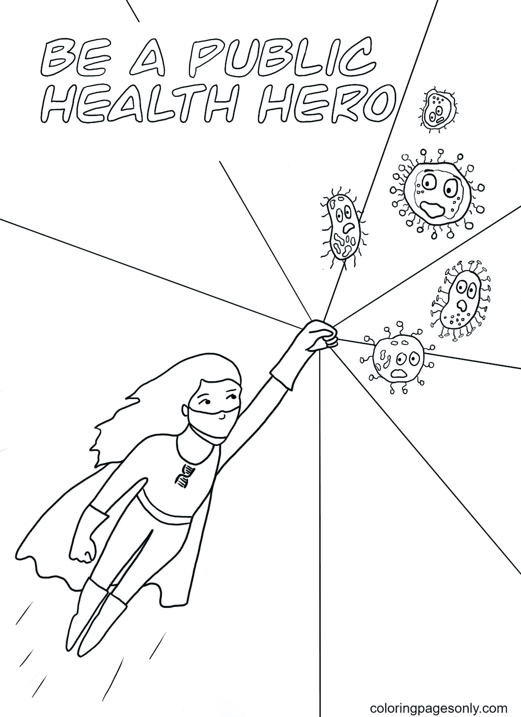 Health hero against Covid-19 Coloring Page