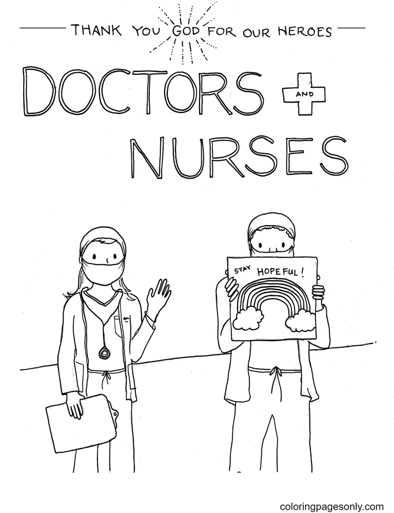 Healthcare Workers are Heroes – Thank you Coloring Page