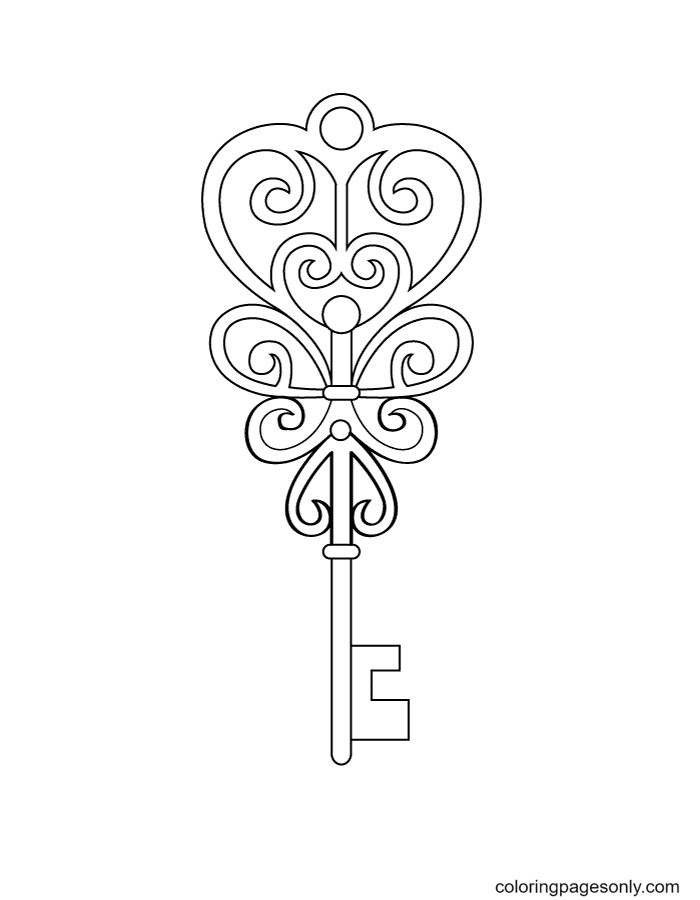Heart Key Free Coloring Page