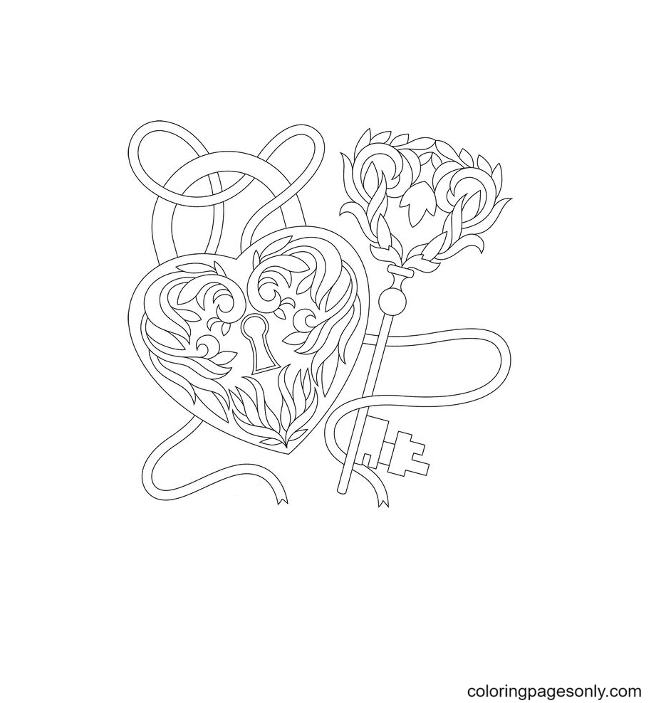 Heart keys and locks Coloring Page