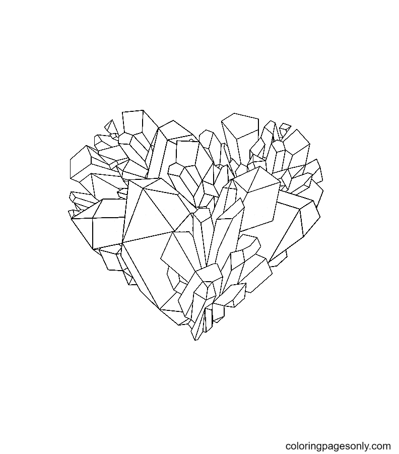 Heart shaped Crystal Coloring Page