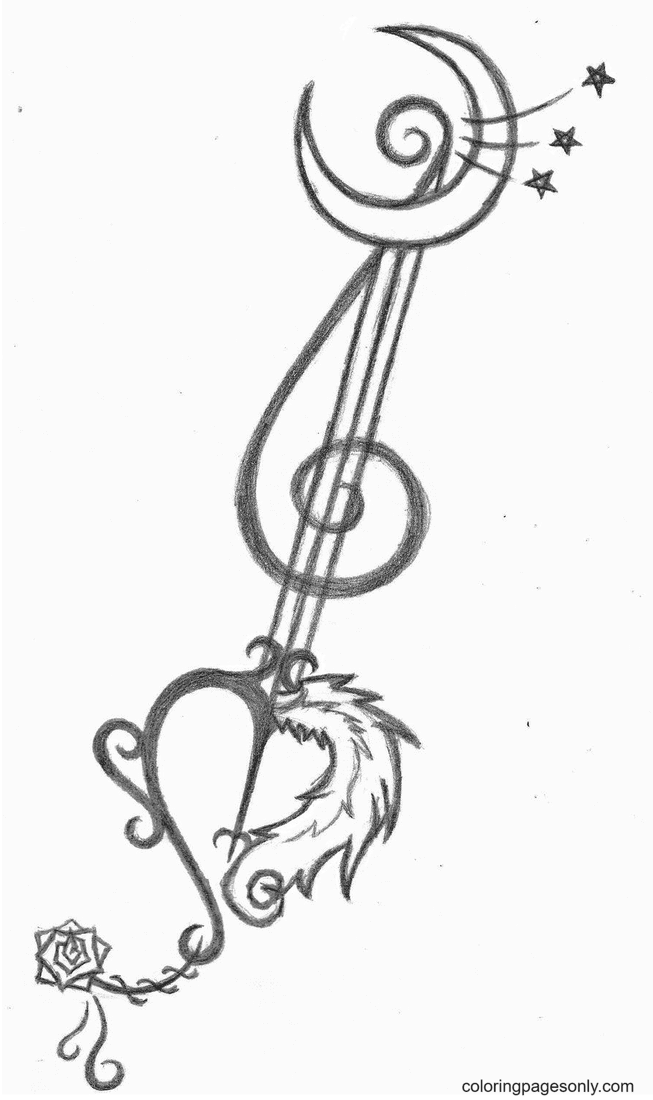 Hearts Key with Moon Coloring Page