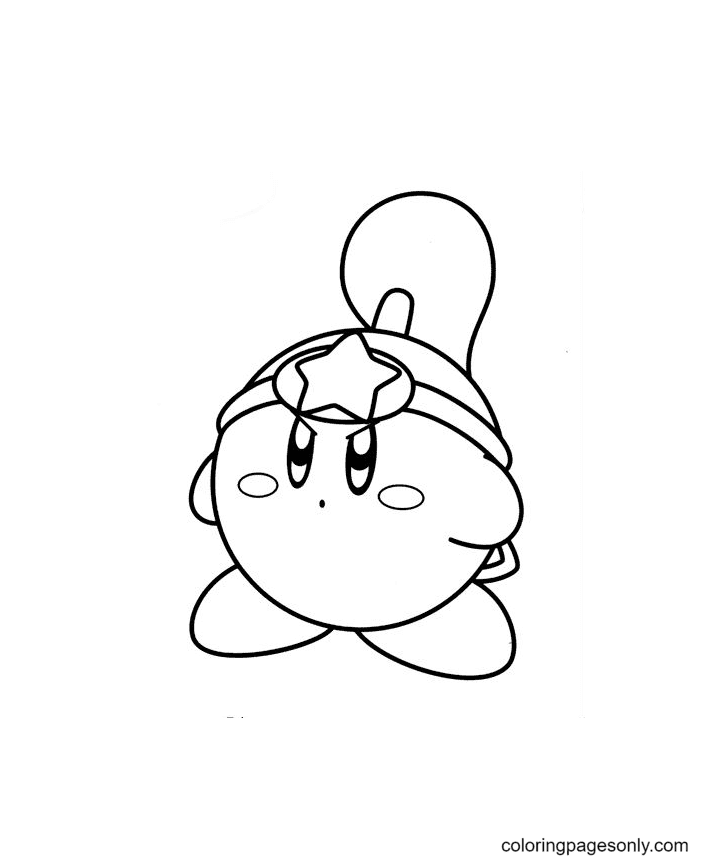 Hero Kirby Coloring Page