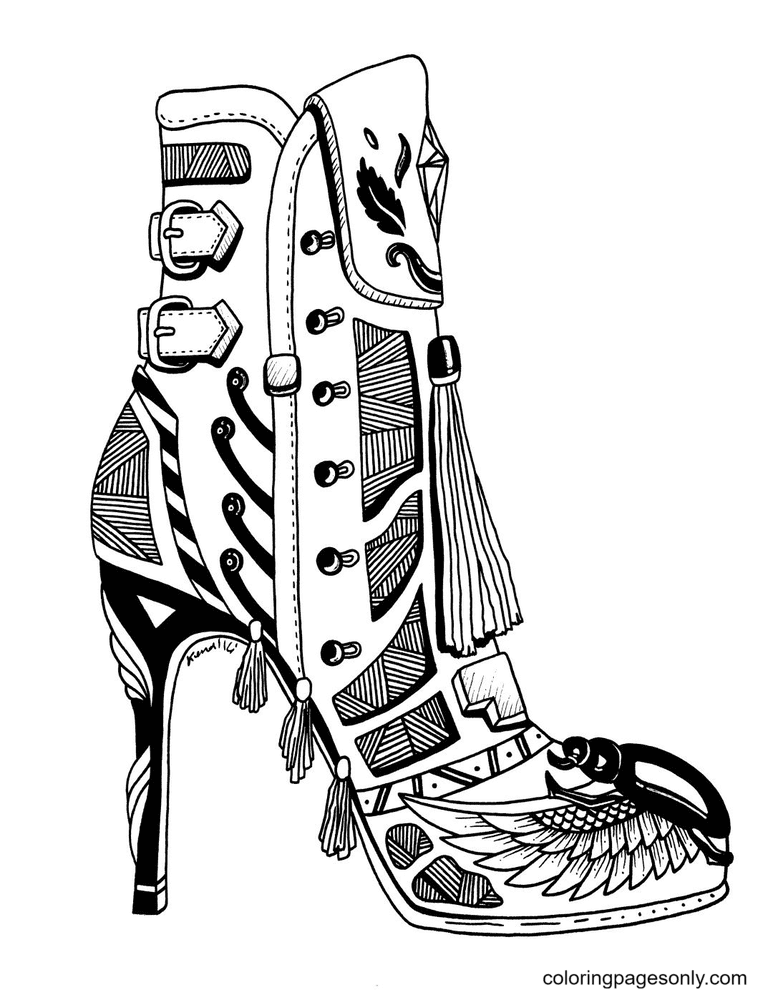 High Heel Shoes For Adults Coloring Page