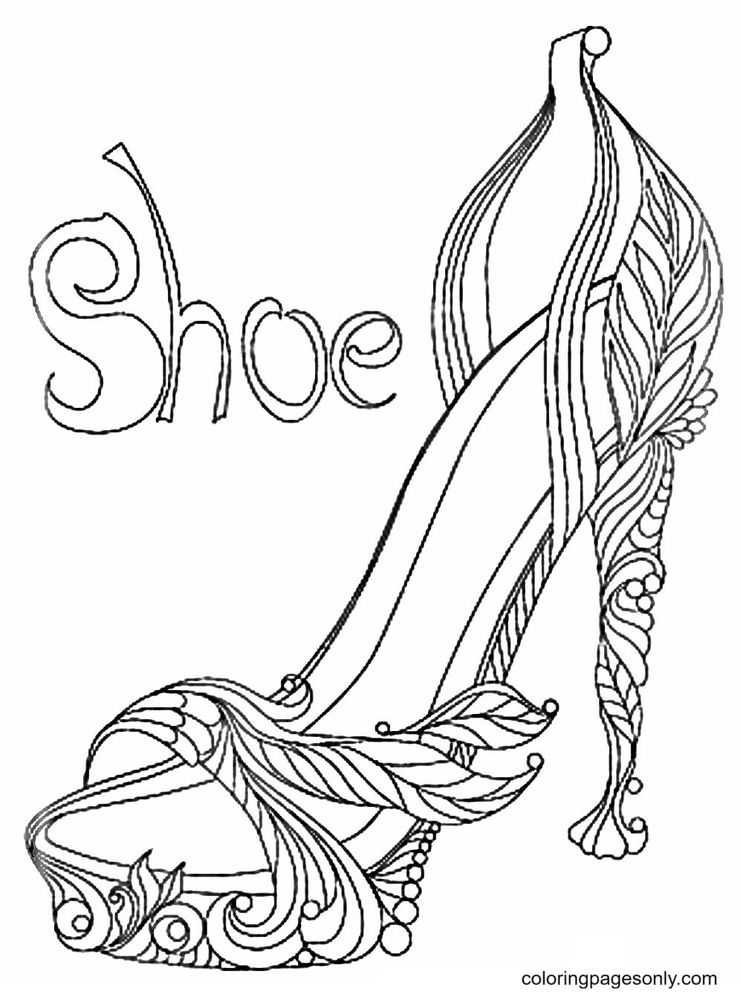 High Heel Shoes Printable Coloring Page