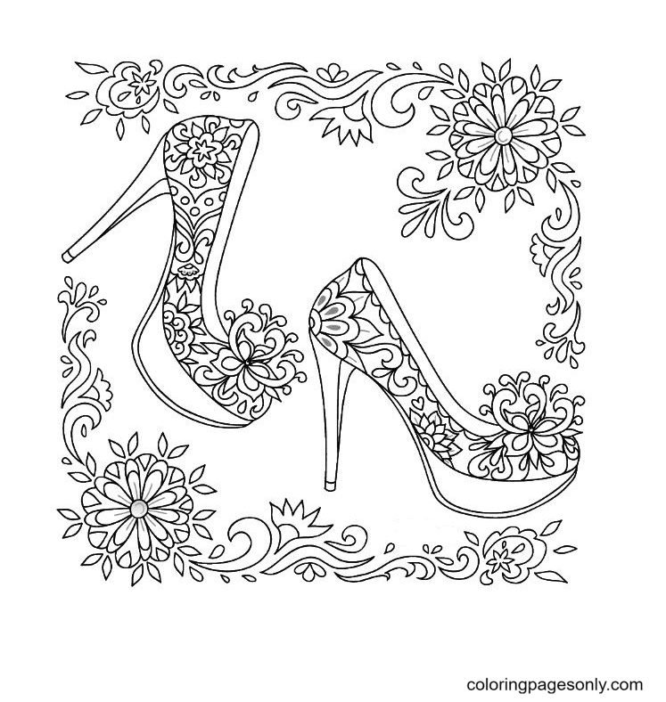 High Heel Shoes Coloring Page