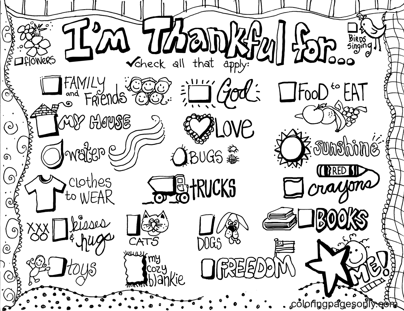 I am Thankful Coloring Page