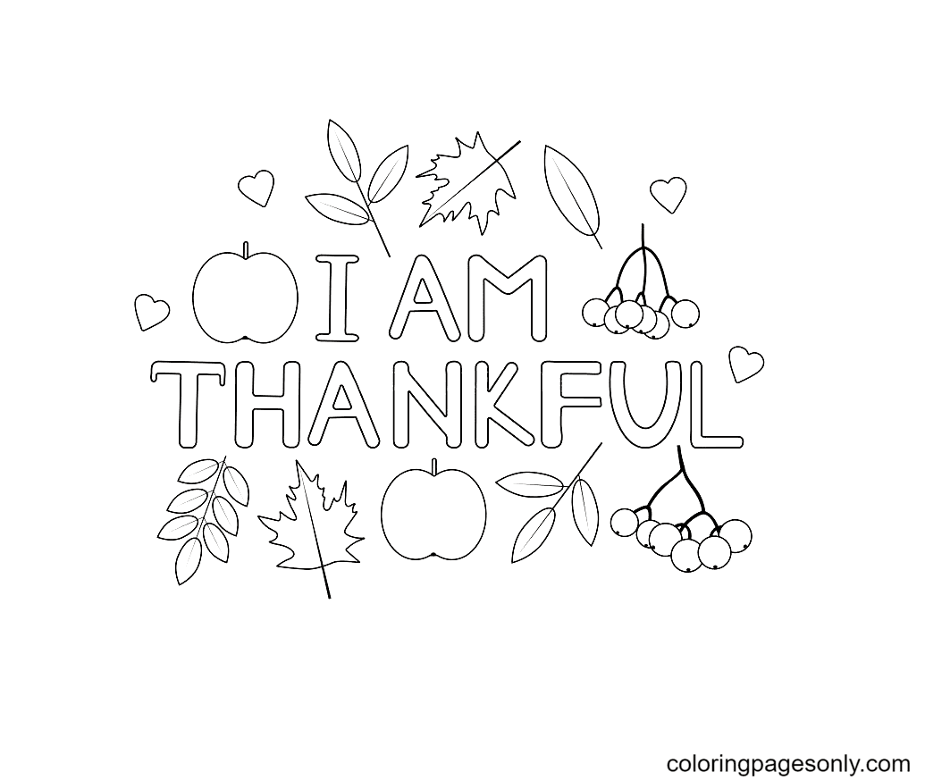 I am Thankfulfor Coloring Page