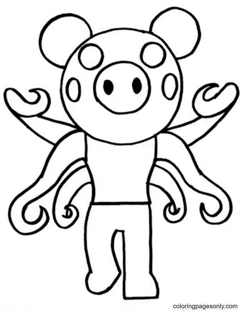 Infected Piggy Coloring Page