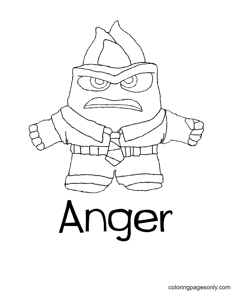Inside Out Anger Disney Coloring Page