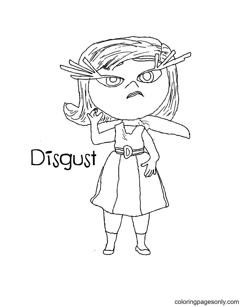 Inside Out Disney Disgust Coloring Page
