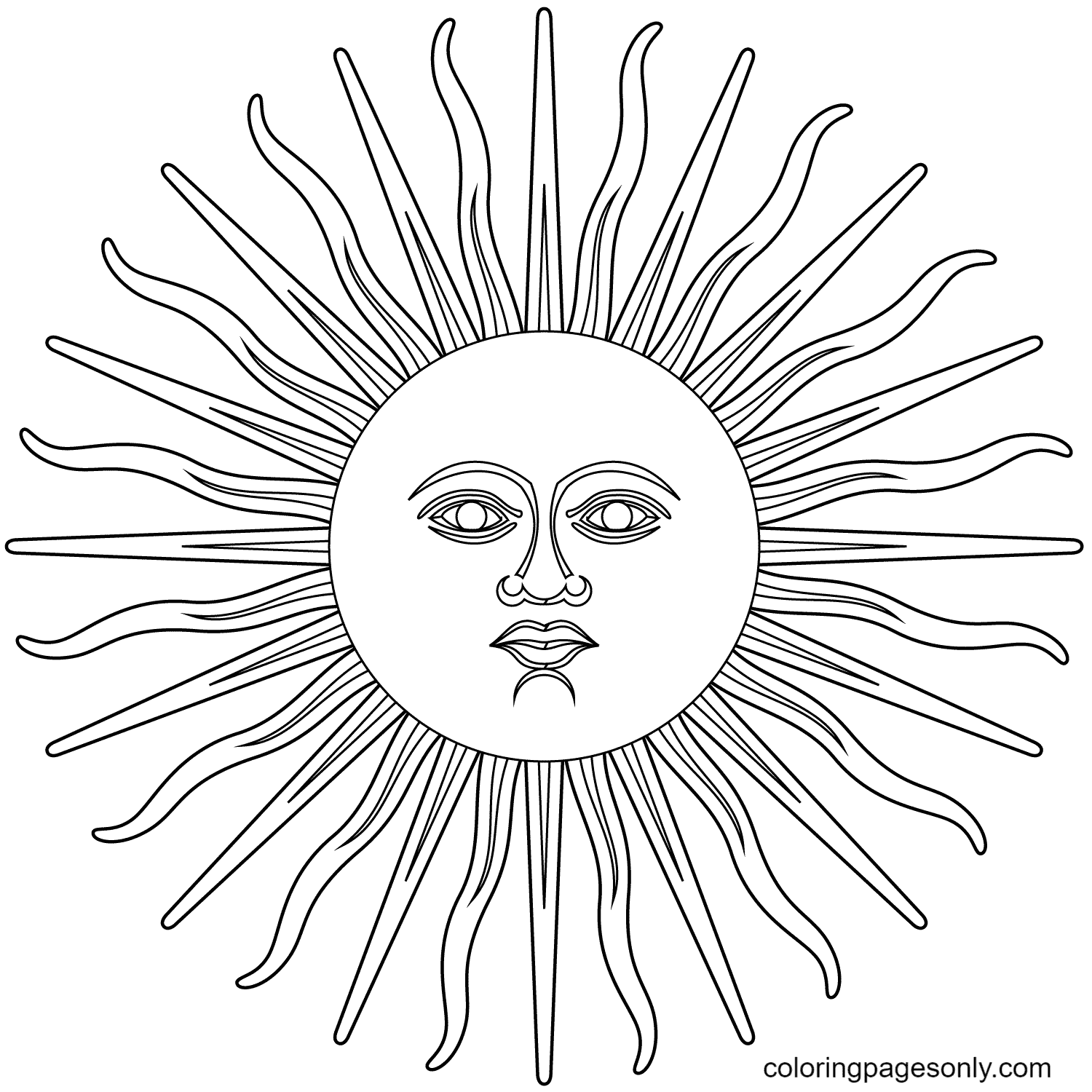Inti or Sun of May Coloring Page