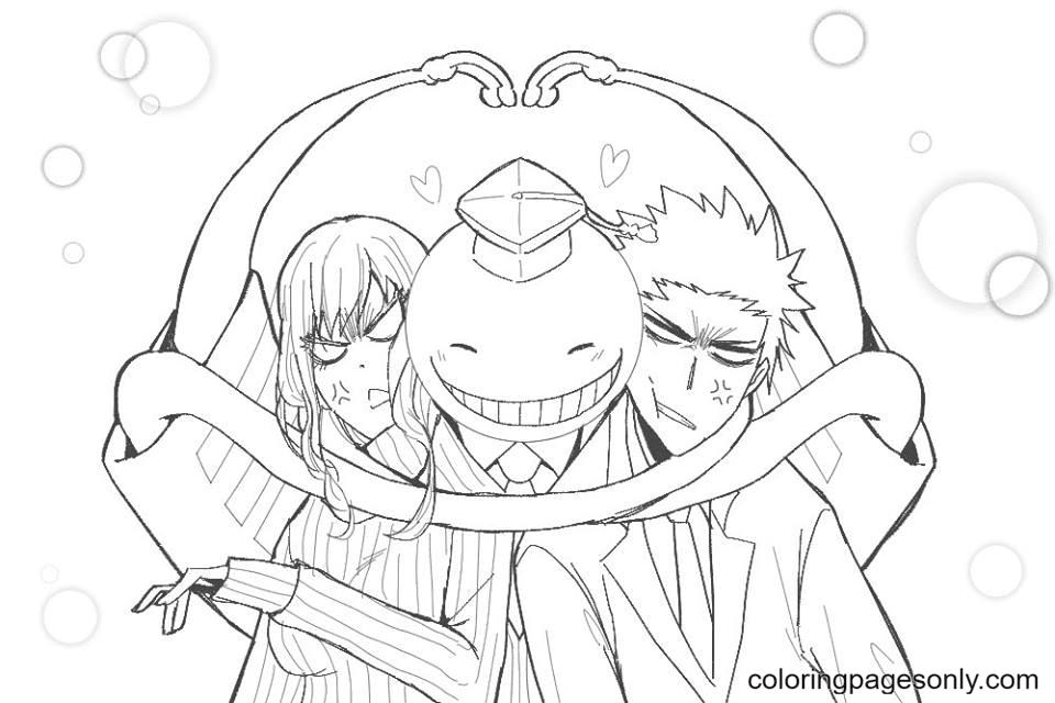Irina, Koro-sensei and Karasuma Coloring Page