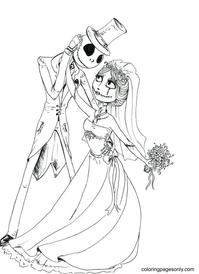 Jack Skellington And Sally At The Wedding Coloring Page