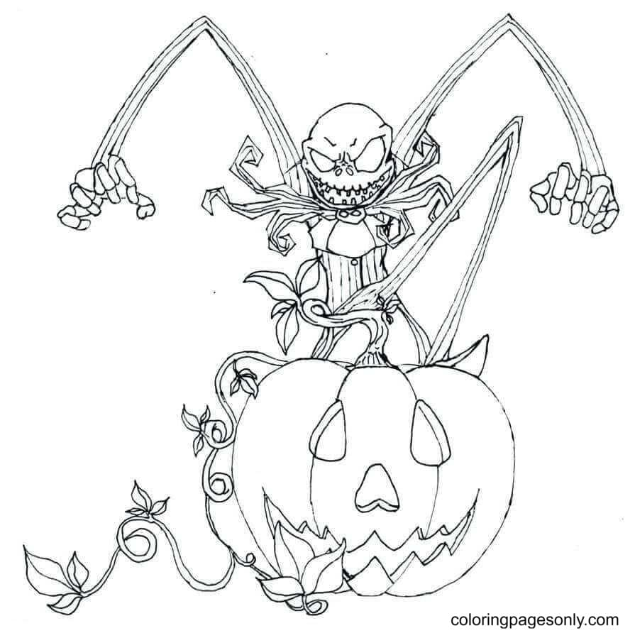 Jack Skellington As The Pumpkin King Coloring Page