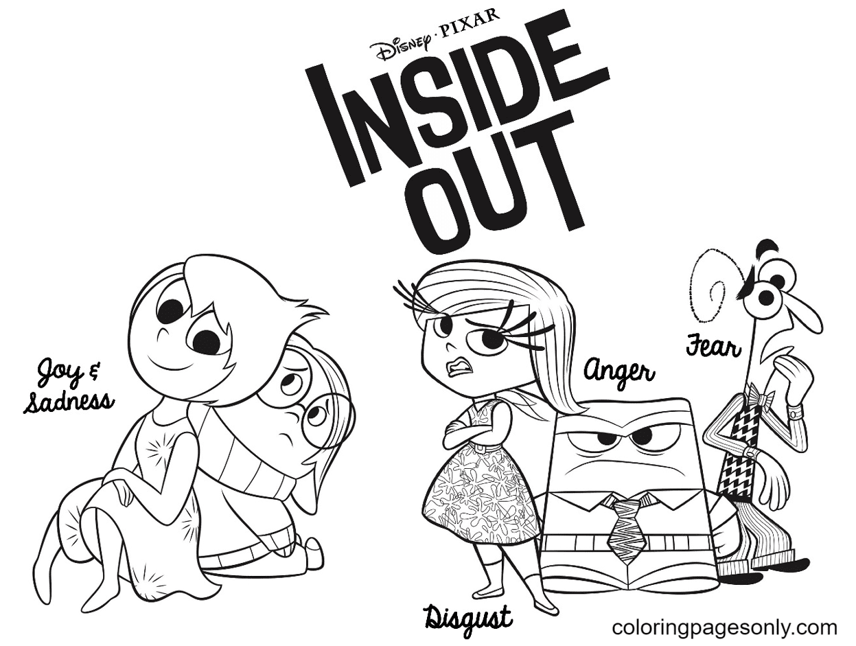 Joy, Sadness, Disgust, Anger and Fear Coloring Page