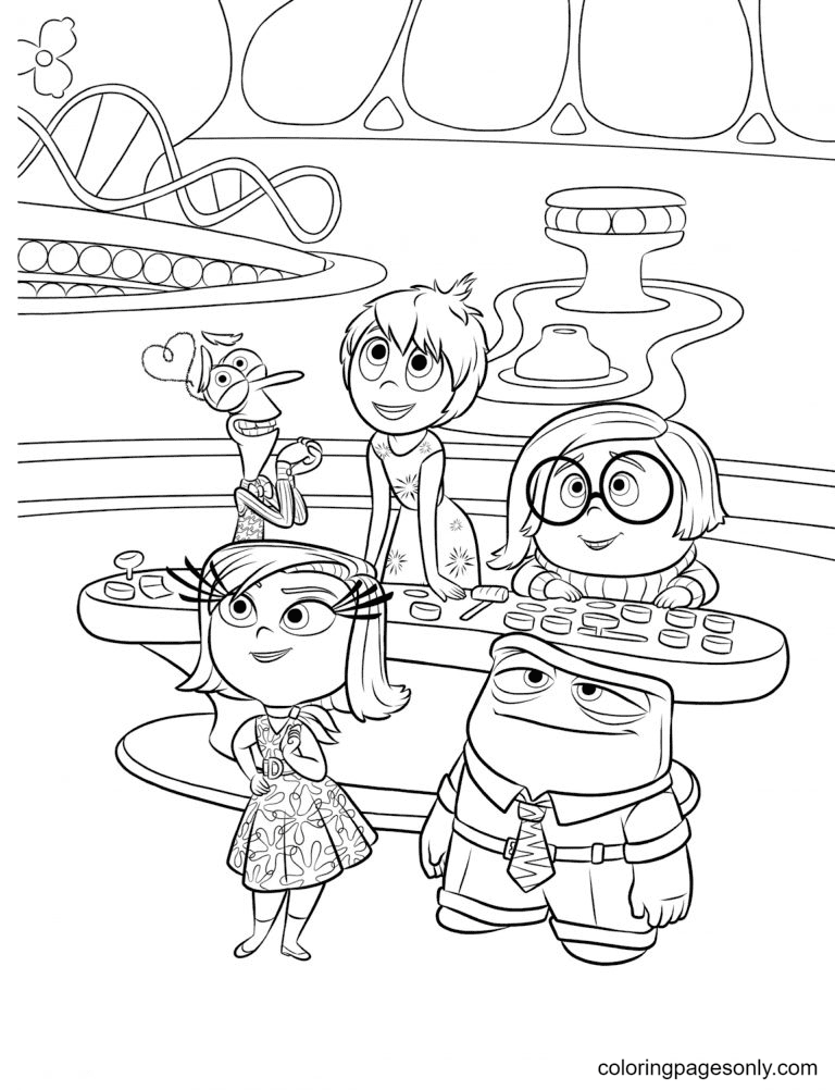 Joy, Sadness, Fear, Disgust, and Anger Coloring Page