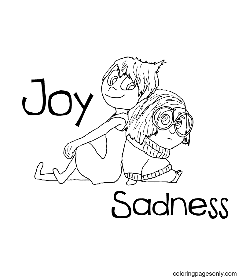 Joy and Sadness Inside Out Coloring Page