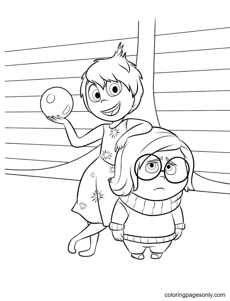 Joy and Sadness Coloring Page