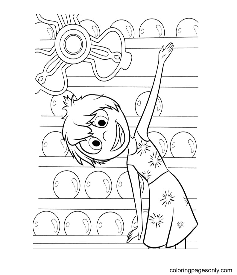 Joy from Disney Pixar Inside Out Coloring Page