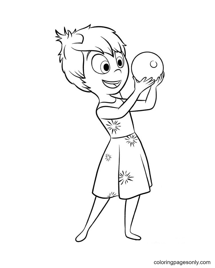Joy holds a colored orbs in her hand Coloring Page
